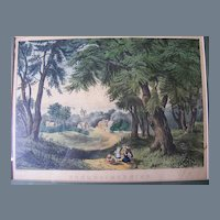"""Antique Currier & Ives Lithograph """"Summer Morning"""""""