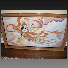 Vintage Framed Indian Goddess Textile