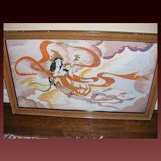 Vintage Framed Indian Goddess Textile