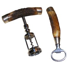 Antler and Sterling Corkscrew and Bottle Opener