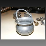 Collection of 6 Small Pewter Toy Items including Petrato Cauldron