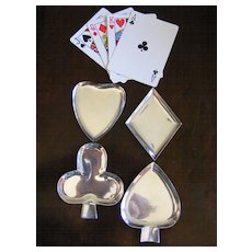 """Set of 4 Taxco Sterling """"Playing Card"""" Nut Dishes"""