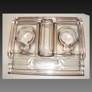 Antique Pressed Glass Pen Holder Desk Organizer