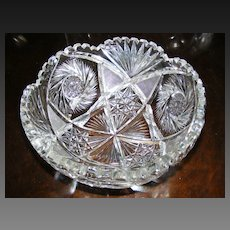 Large American Brilliant Period Cut Crystal Bowl