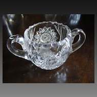 American Brilliant Period Cut Crystal 2 Handled Sugar