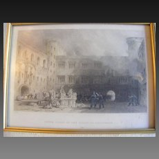 Hand Colored Engraving T. Allom Henry Wallis Inner Court of the Palace of Linlithgow