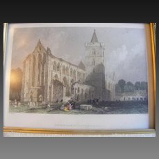 Hand Colored Engraving Dumblane Cathedral, Perthshire by T Allom, engraved by W Radclyffe 1839