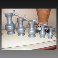 Set of 5 Graduated Pewter Measures Lidded Jugs