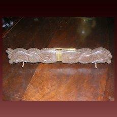 Vintage Carved Teak Handle Carving Set