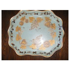 Large Hand Painted Pale Green Toleware Platter Drink Tray