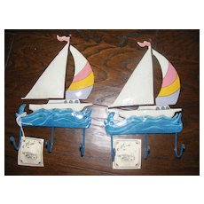 Hand made and painted Sailboat Towel Hangers
