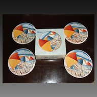 Set of 8 Sandstone Beach House Drink Coasters - Umbrellas