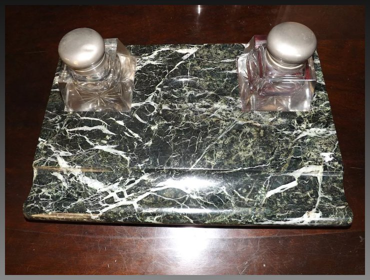 Antique Green Marble Desk Set