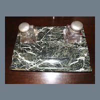 Antique Green Marble Desk Set