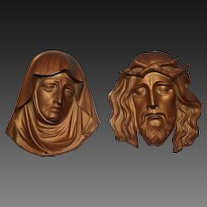 Cast Metal Jesus and Mary Wall Mounts