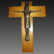 Vintage Crucifix with Cast Brass Jesus