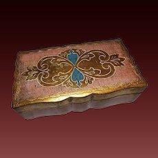 Hand Painted Florentine Italy Wood Jewelry Box