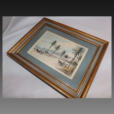 Antique small framed hand colored engraving of Southern France