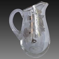 Vintage Hand Blown Glass Pitcher with Silver Floral Decorations