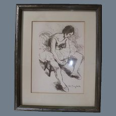 Vintage Moses Soyer Ballerina Lithograph with COA