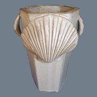 Vintage 1986 Tom Jones Pottery Hexagonal Pectin Shell Vase
