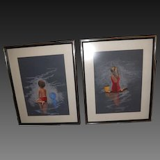 Pair of Vintage Pastels of Children at the Beach - signed Hester
