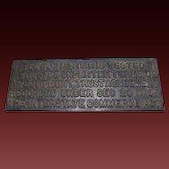 Antique Cast Iron Railroad Railcar Title Plaque Sign
