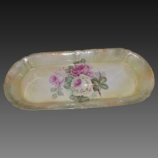 Beautiful Antique Franz Anton Mehlem Service Dish with Roses