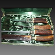 Vintage Gebr. Weyersberg 4 Piece Antler Handled Carving Set