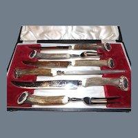 Vintage Antler Handle 6 Piece Carving Set