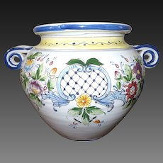 Large Vintage Hand Painted Majolica Jardiniere Made in Italy
