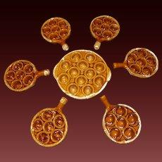 Vintage Brown Ceramic Escargot Set 7 pieces