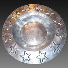 Large Vintage Pewter Serving Bowl with Stars