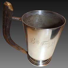 "Antique ""Big Tom"" Antler Handle Silver Plated Drinking Mug by Pinder Brothers"