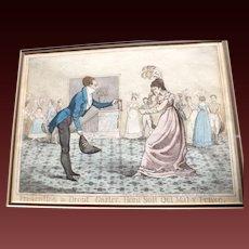 Antique 1821 Etching Presenting a Dropt Garter. Honi Soit Qui Mal y Pense