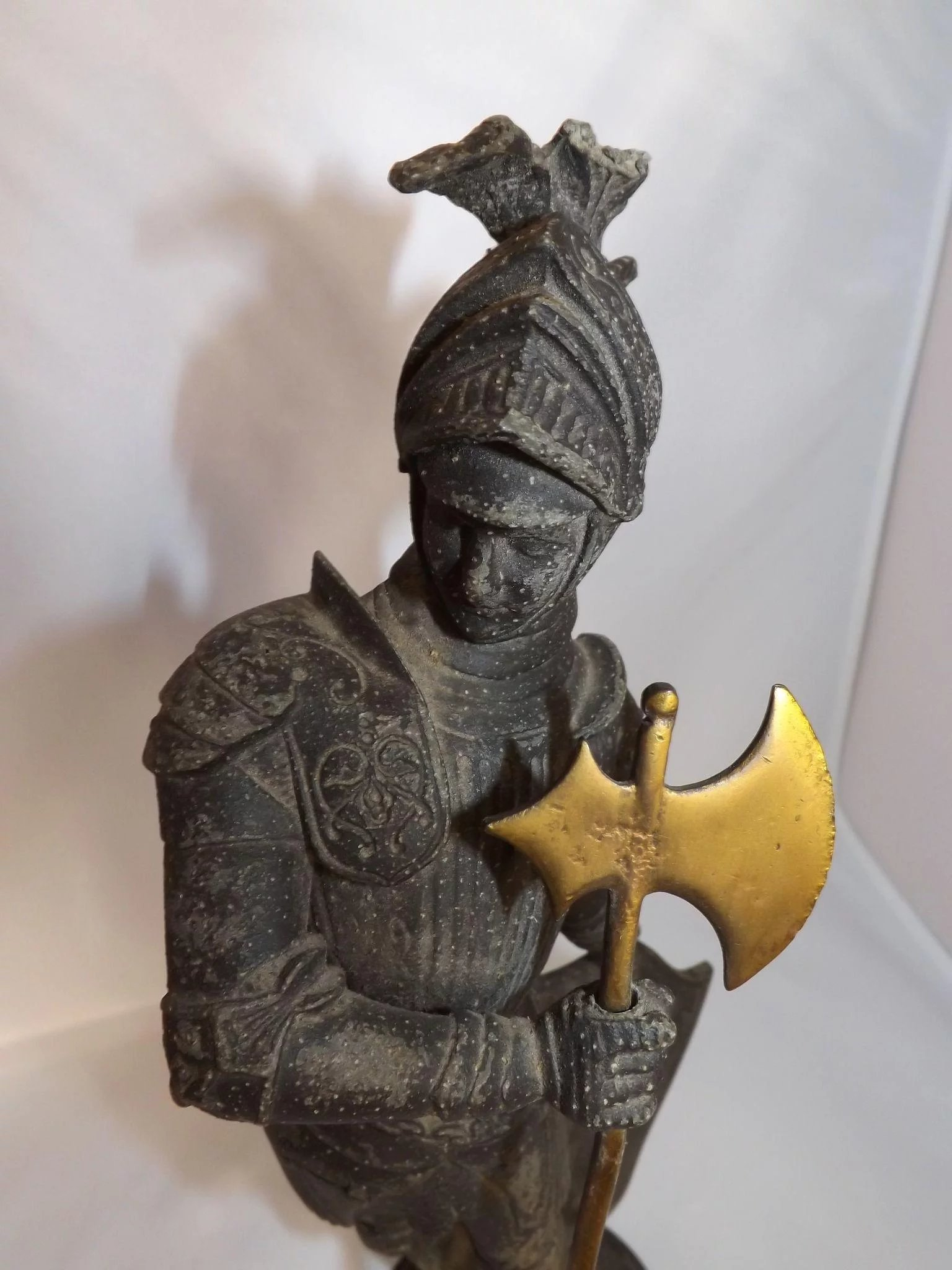 Early 19th Century Metal Spelter Statue Of Knight E3