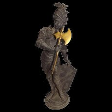 Early 19th Century Metal Spelter Statue of Knight