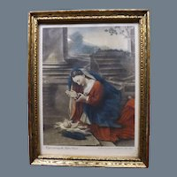 """Antique Hand Colored Photoengraved Small Print """"Virgin adoring the Infant Christ"""" 1870"""