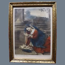 "Antique Hand Colored Photoengraved Small Print ""Virgin adoring the Infant Christ"" 1870"