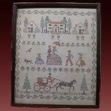 Antique Needlepoint Folk Art Sampler