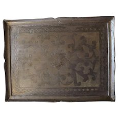 Large Vintage Painted Wooden Florentine Serving Tray