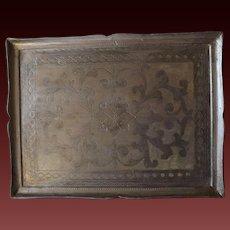 Large Vintage Painted Wooden Florentine Serving Tray