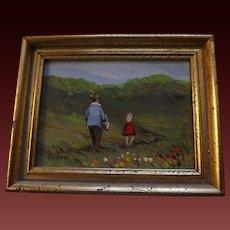 Original Vivian Hollan Miniature Oil Painting - Father and Daughter