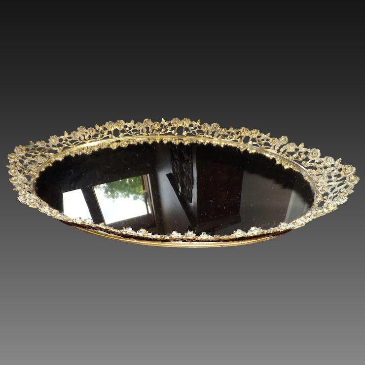 Vintage Oval Mirror Vanity Tray With Roses E3 Antiques Ruby Lane