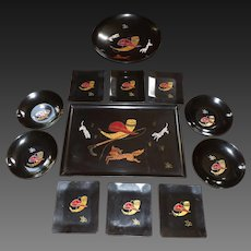 Rare set of Couroc of Monterey Phenolic Serving Pieces made for Anheuser Busch