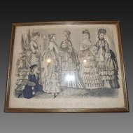 Hand Colored Print - Framed Godey's Fashions For May 1873