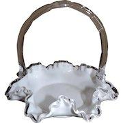 Ruffled White Cased Glass Brides Basket