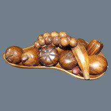 Monkey Pod Wood Fruit Bowl and fruits