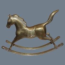 Vintage Cast Brass Rocking Horse