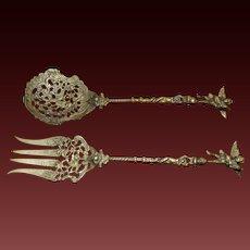 Brass Fork Spoon Serving Set